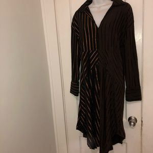 ZARA Dress Black Stripes Long Sleeve on trend Sz S